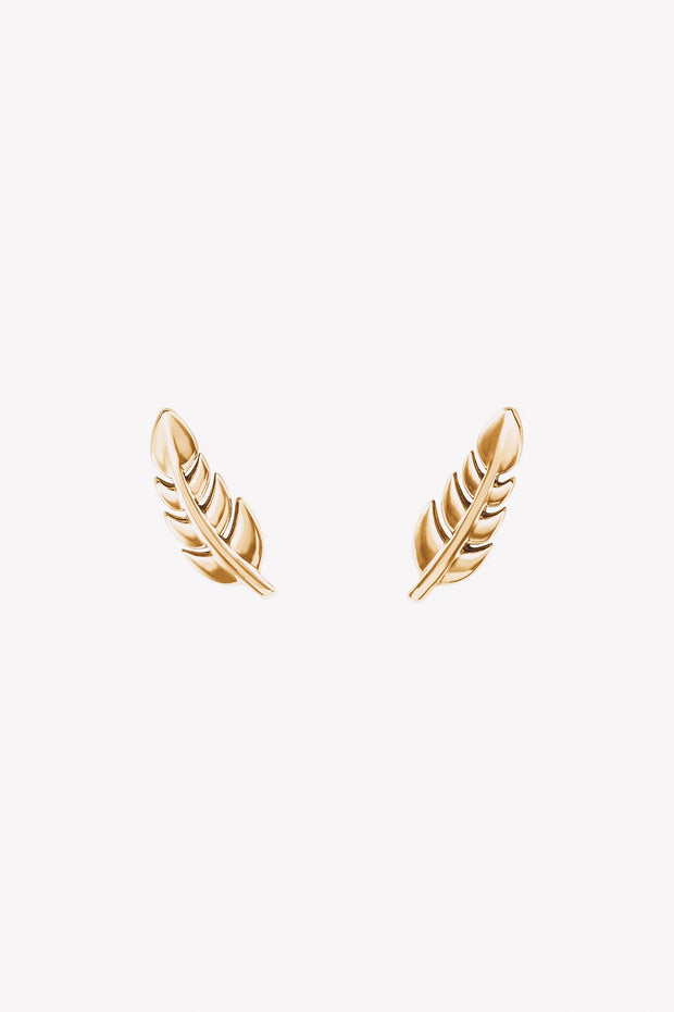 14k gold leaf stud earrings