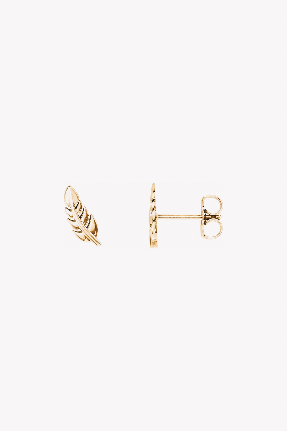 14k gold leaf stud earrings side view