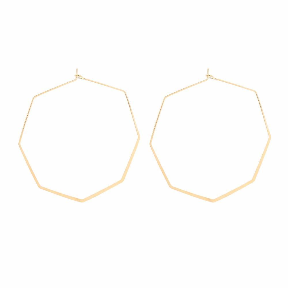 Octagon gold hoop earrings by janna conner