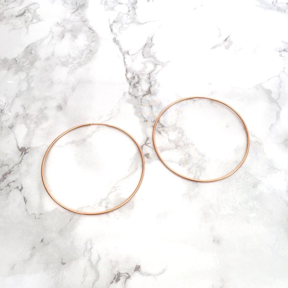 rose gold fill hollow tube hoop earrings