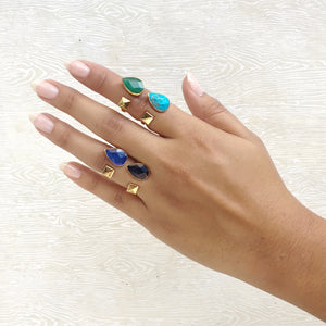 two stone gemstone open rings on model hand
