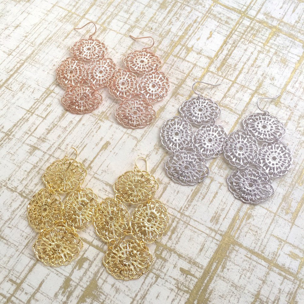 Lace Filigree Earrings | 18K Gold Plating | Janna Conner