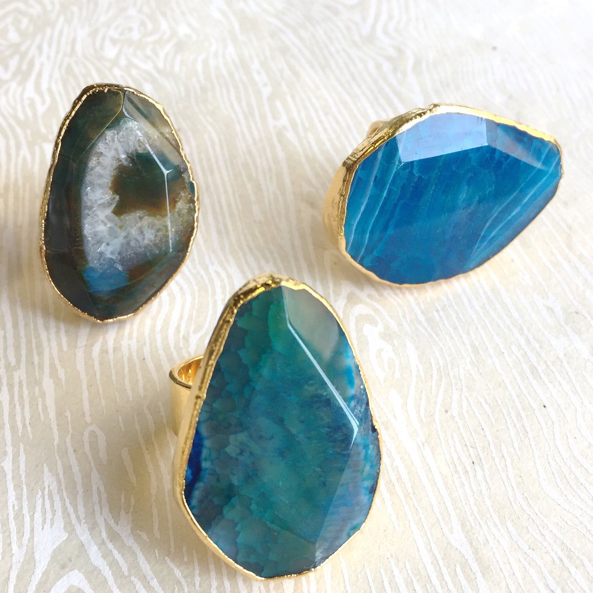 blue agate cocktail rings