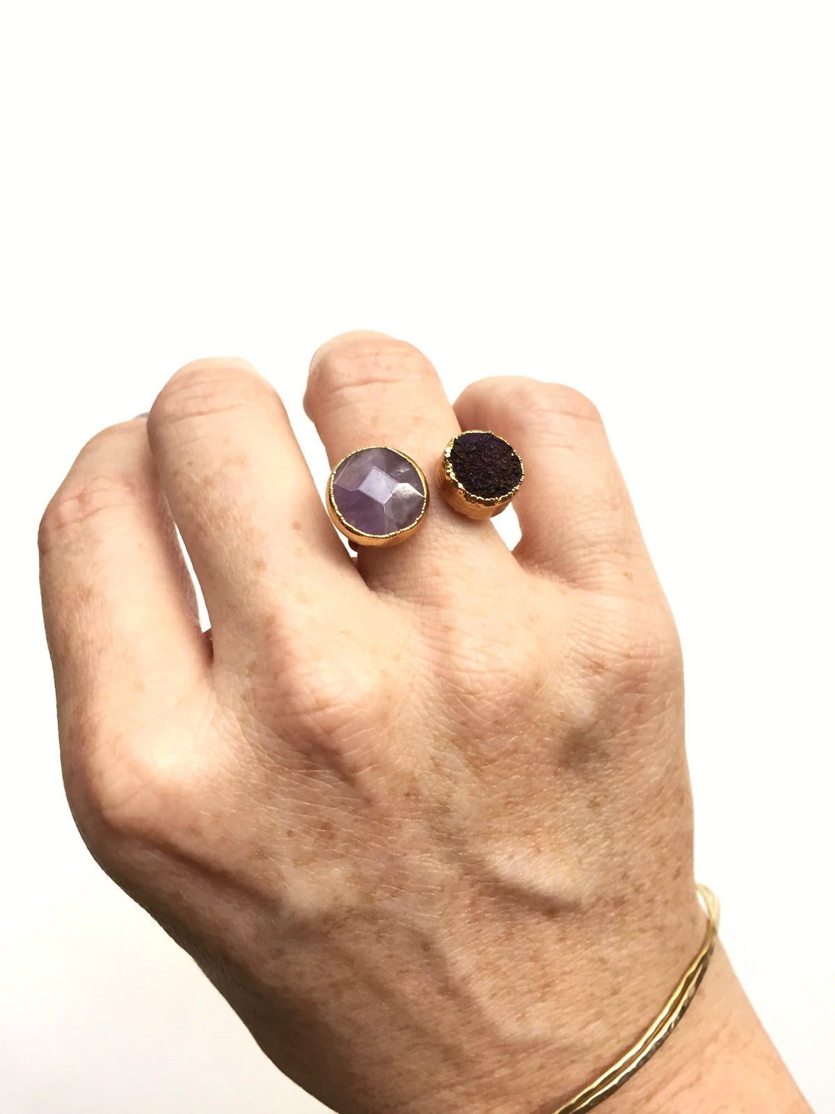 amethyst druzy open ring on hand
