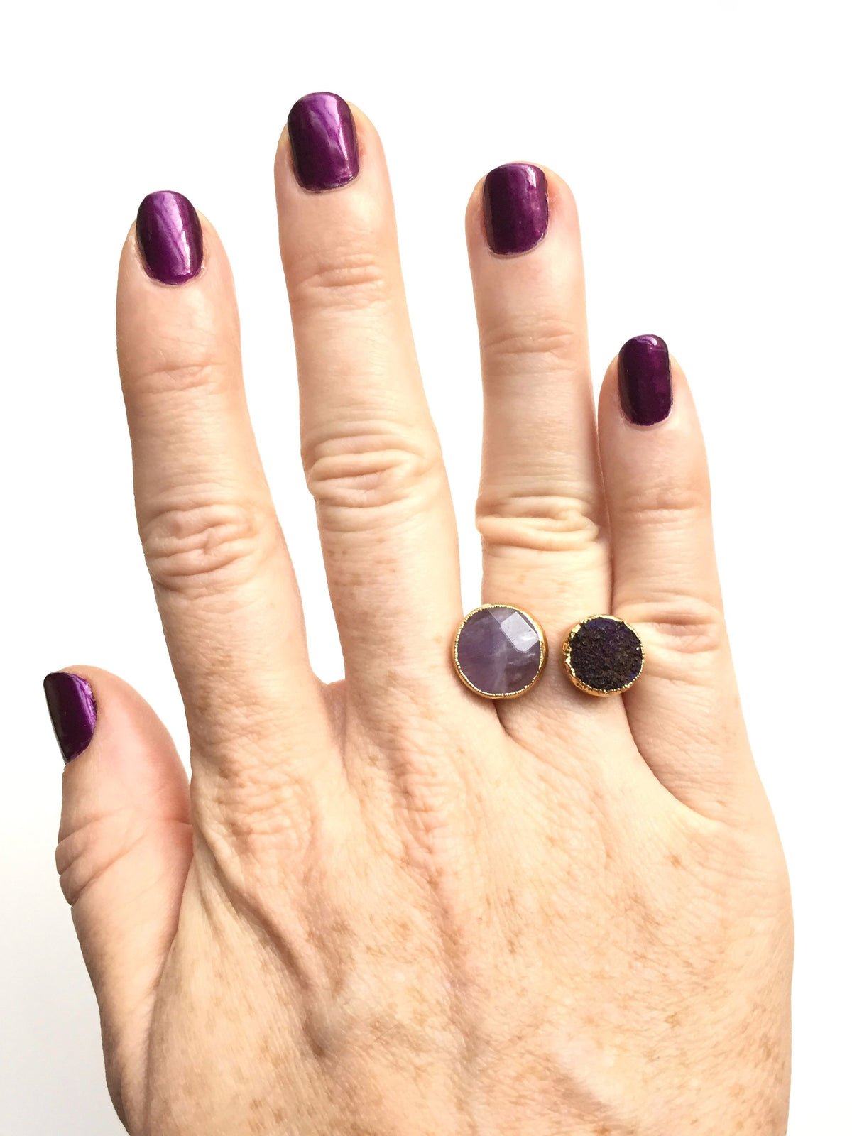 amethyst and druzy open ring on hand