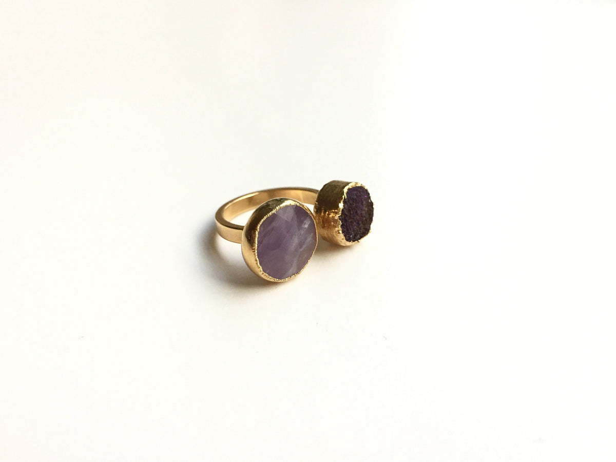 amethyst druzy open ring