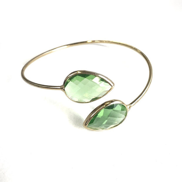 Louna Cuff Bracelet | Mint Quartz | 18k Gold Plating | Janna Conner | Sale