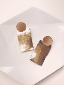 gold metal statement earrings eighties style janna conner