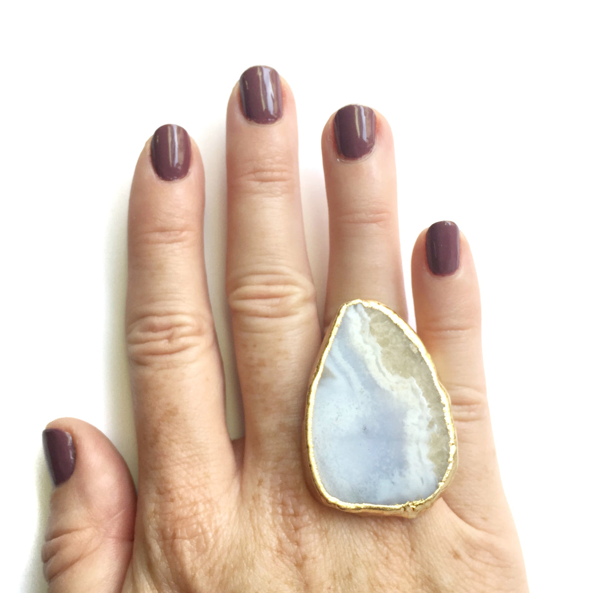 blue lace agate statement ring on hand
