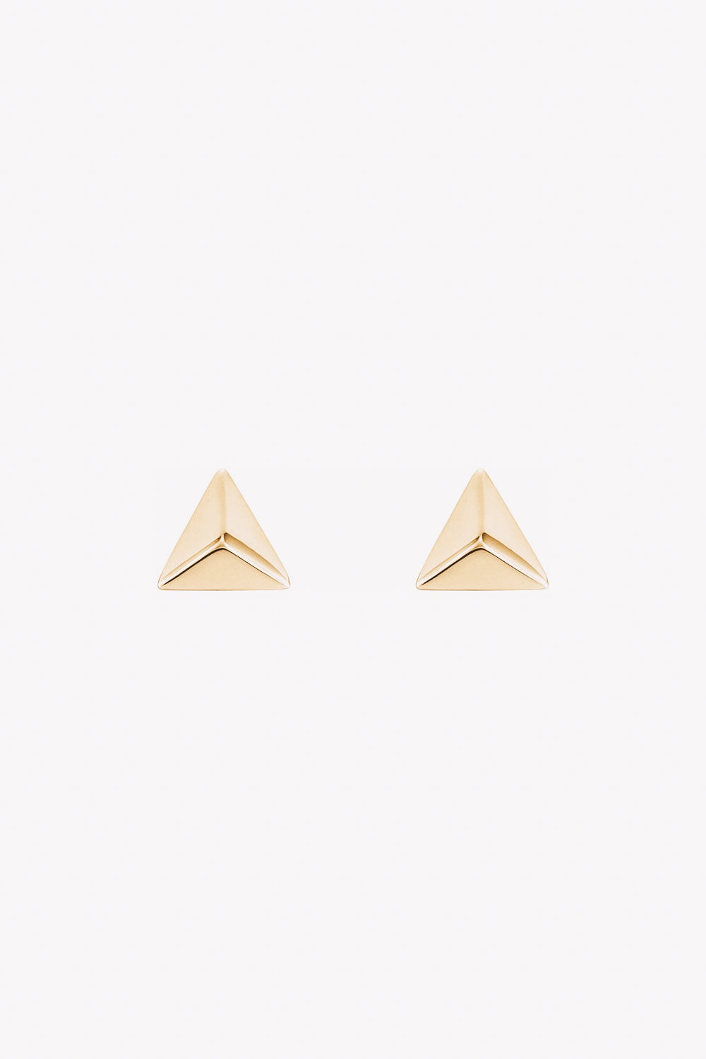 14k gold triangle pyramid stud earrings
