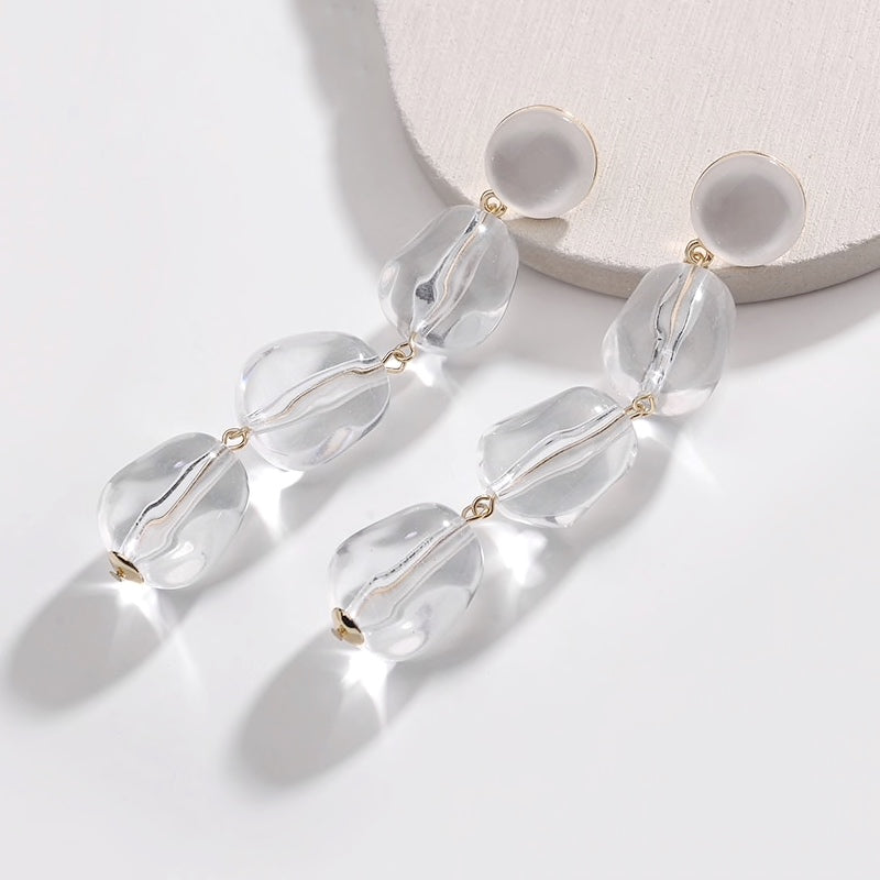 white clear quartz nugget drop earrings