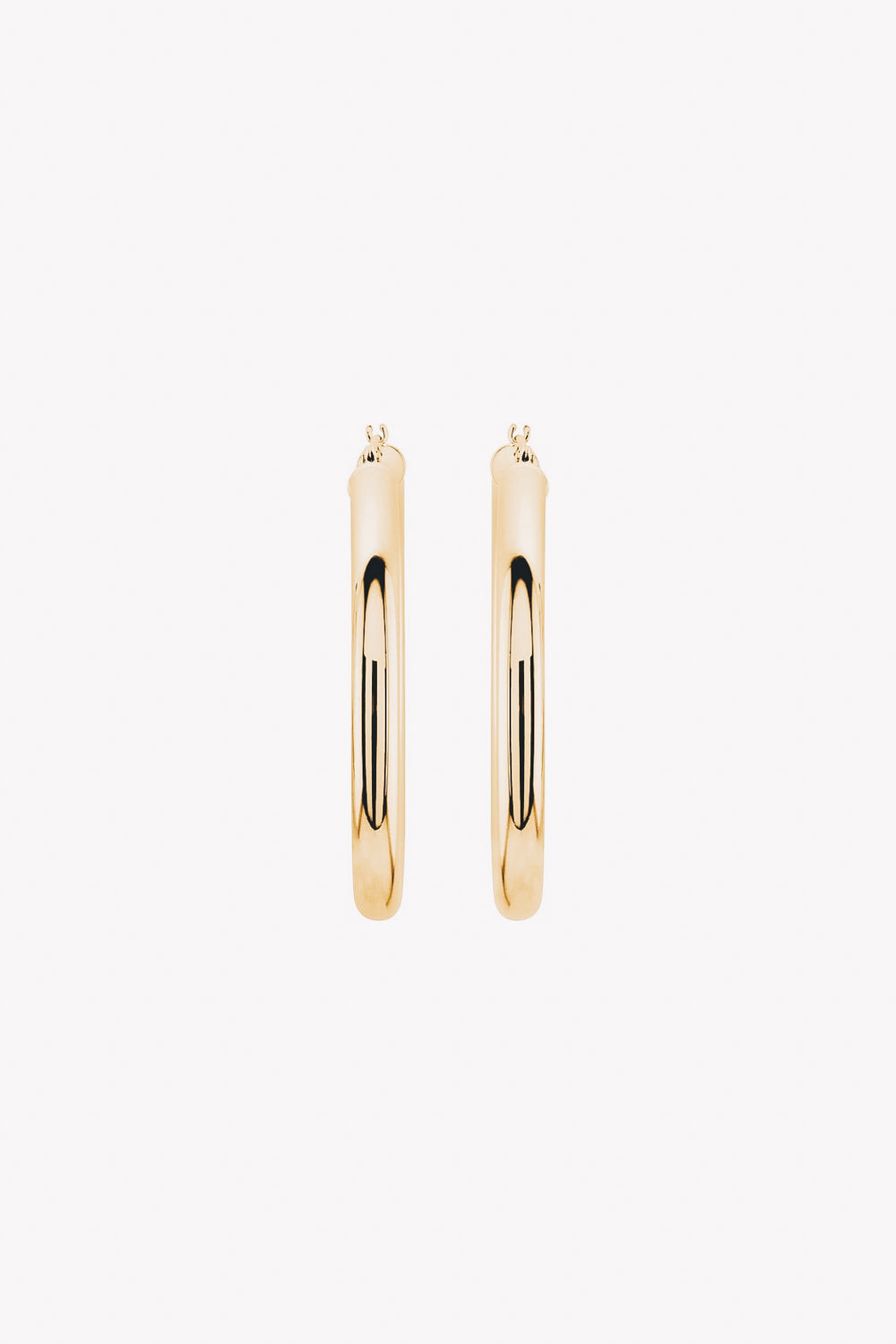 14k gold tube hoop earrings front view
