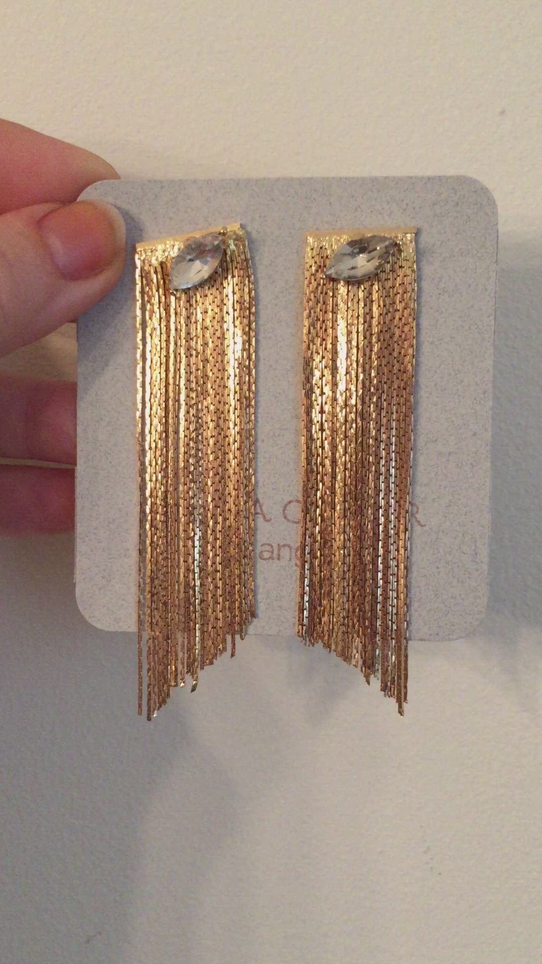 Marquis Fringe Earrings | Crystal | 18K Gold Plating | Janna Conner