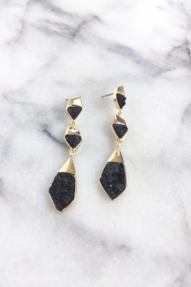 Hasya Druzy Earrings | Black Druzy | 18k Gold Plating | Janna Conner
