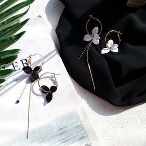 black and white flower hoop earrings