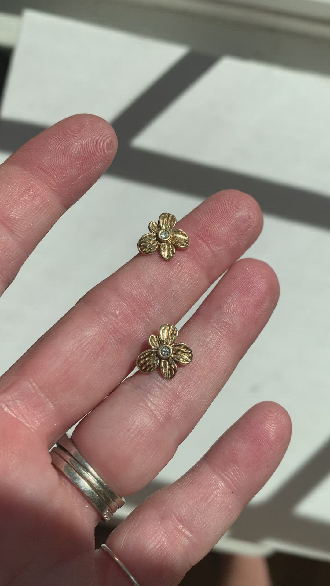 Fleur Earrings | Diamond | 14k Gold | Janna Conner