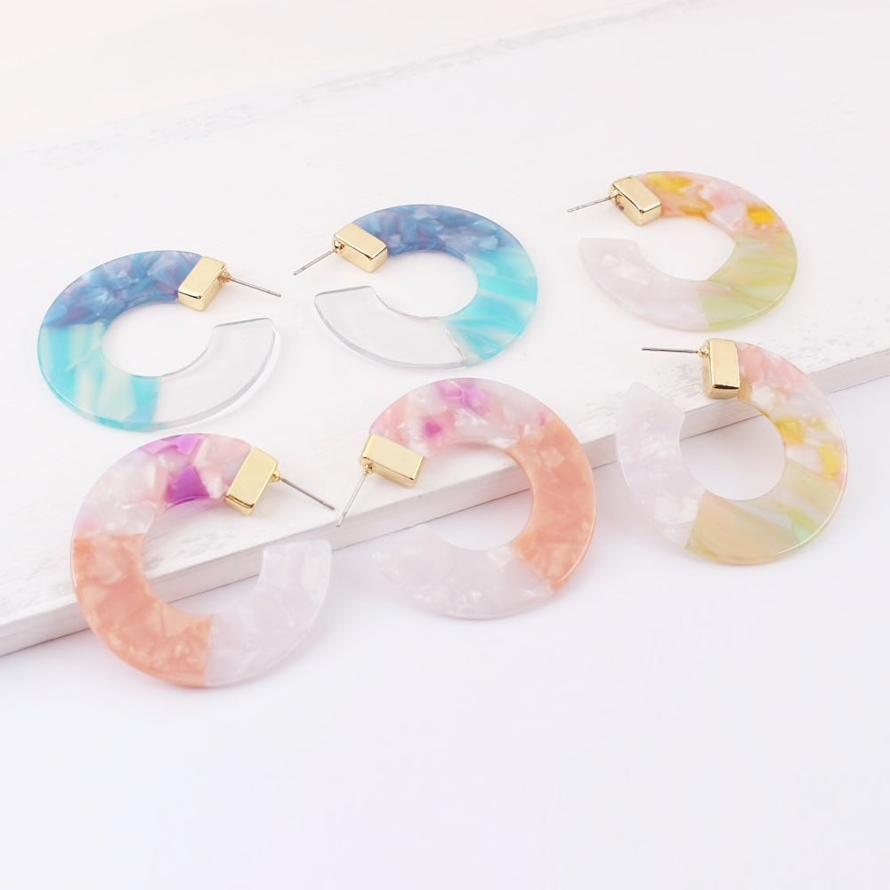 multi color blue pink yellow ombre acrylic hoop earrings