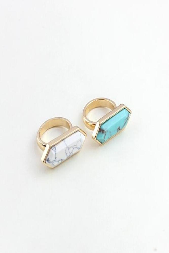 Axelle Ring | Howlite | 18k Gold Plating | Janna Conner | Sale
