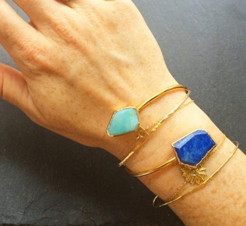 Peruvian Opal and lapis adjustable cuff on hand