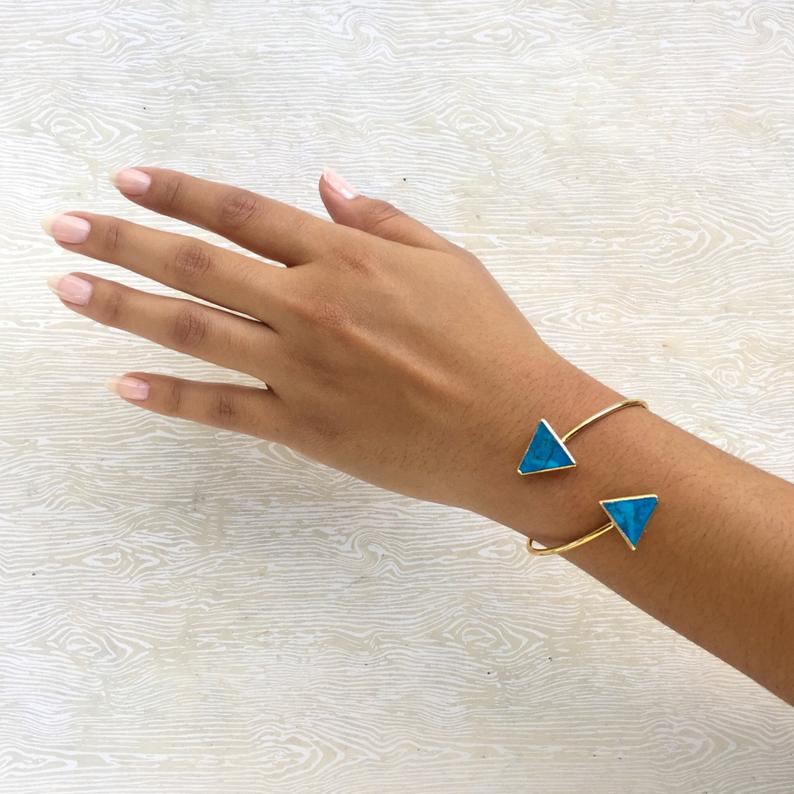 turquoise triangle bracelet on model