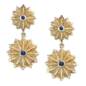 blue sapphire Art Deco starburst earrings