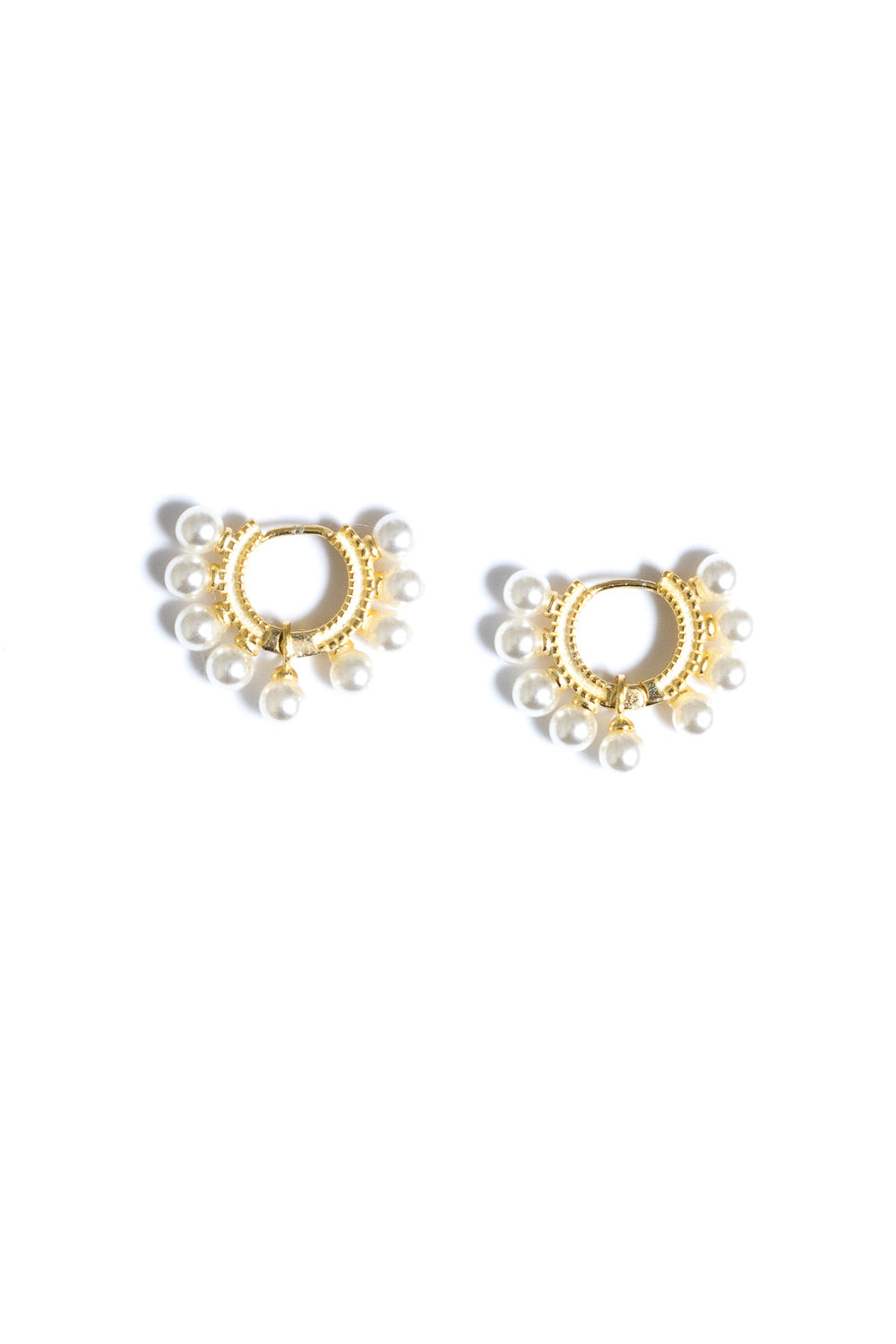 pearl mini gold huggie hoop pearl earrings by janna conner