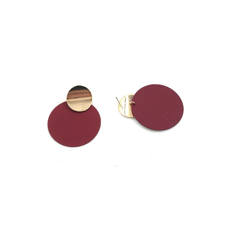 dark red Bordeaux  disc earrings with gold accents