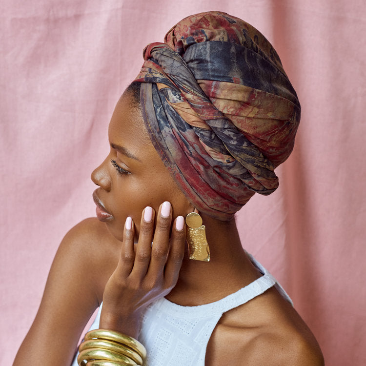 metal statement earrings headwrap Paola mathe janna conner