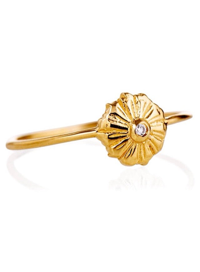 Petite Starburst Ring | 14K Gold | Diamond | Janna Conner