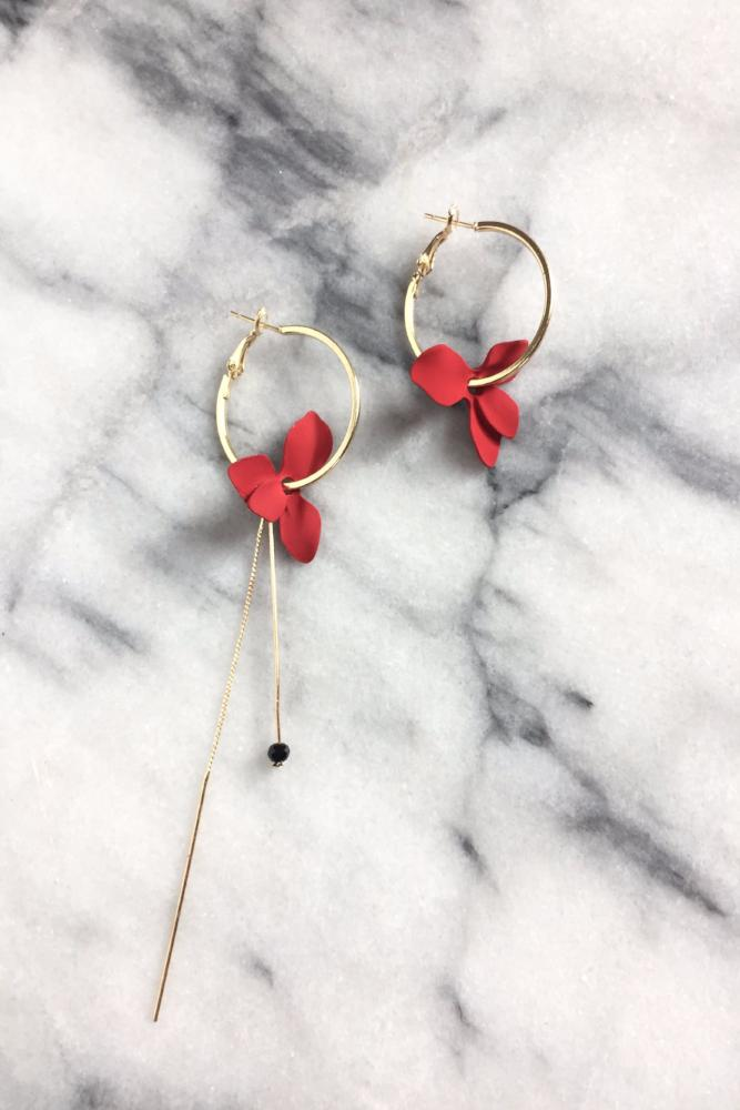 Janelline | Red Mismatched Flower Hoop Earrings | 18k Gold Plating | Janna Conner