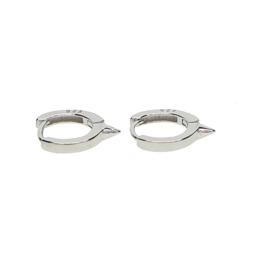 silver huggie hoop spike earrings