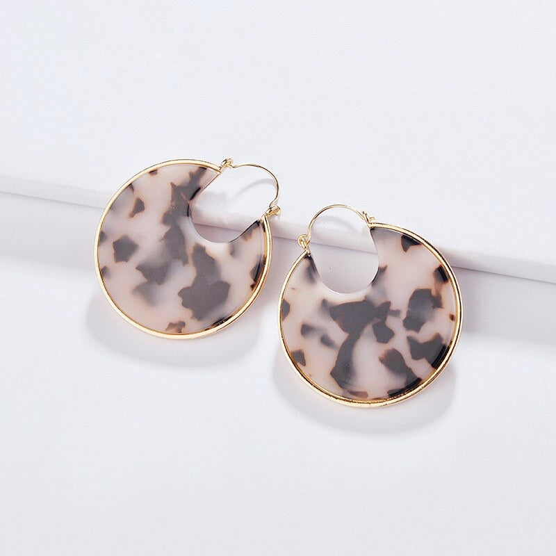 Dory Hoop Earrings | Pink Tortoise Acrylic | 18k Gold Plating