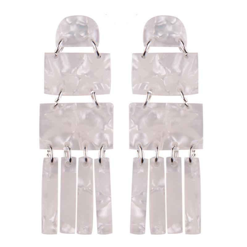 white acrylic dangle earrings