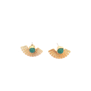 green ear jacket earrings