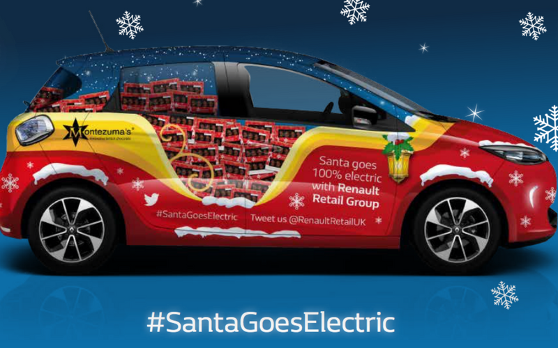 Santa swaps his reindeer for an electric car!