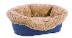 hard shelled dog bed with mocha lining