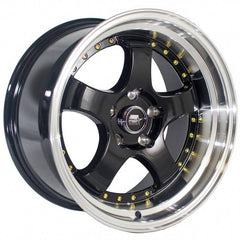 MST Wheels MT07 Black Machine Lip Gold Rivet