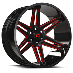 Vision Wheels 363 Razor Black Milled Red