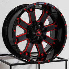 American Off-Road Wheels A108 Black Milled Red
