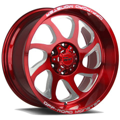 Off-Road Monster Wheels M22 Candy Red Machine Tips