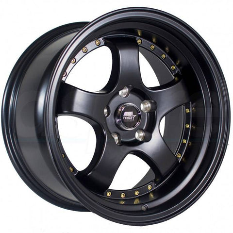 MST Wheels MT07 Matte Black Gold Rivet