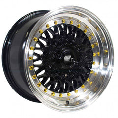MST Wheels MT13 Black Machine Lip Gold Rivet
