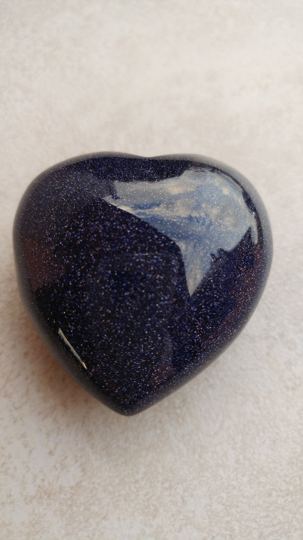 "Blue Goldstone Heart (Approx 1 1/4"")"