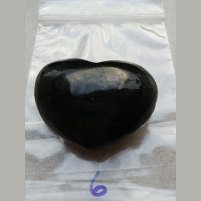 "Shungite Puffy Heart (Approx 1 1/4"" Russia"