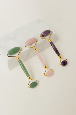 adventurine, amethyst, rose quartz