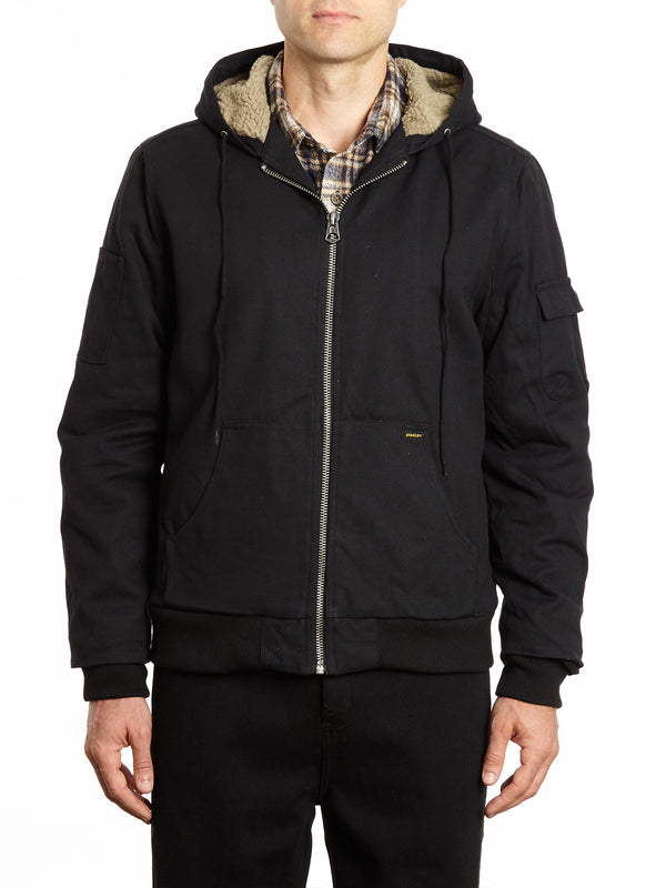 Hooded Canvas Jacket with Faux Sherpa Lining