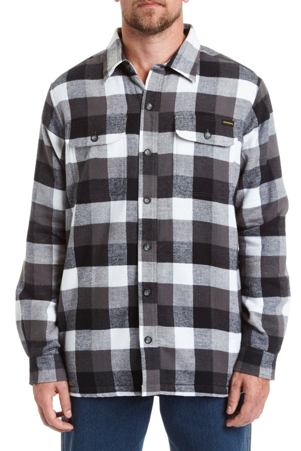 Sherpa Lined Flannel Shirt Jacket - black/white