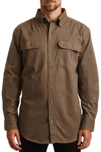 Button Down Twill Work Shirt - light olive