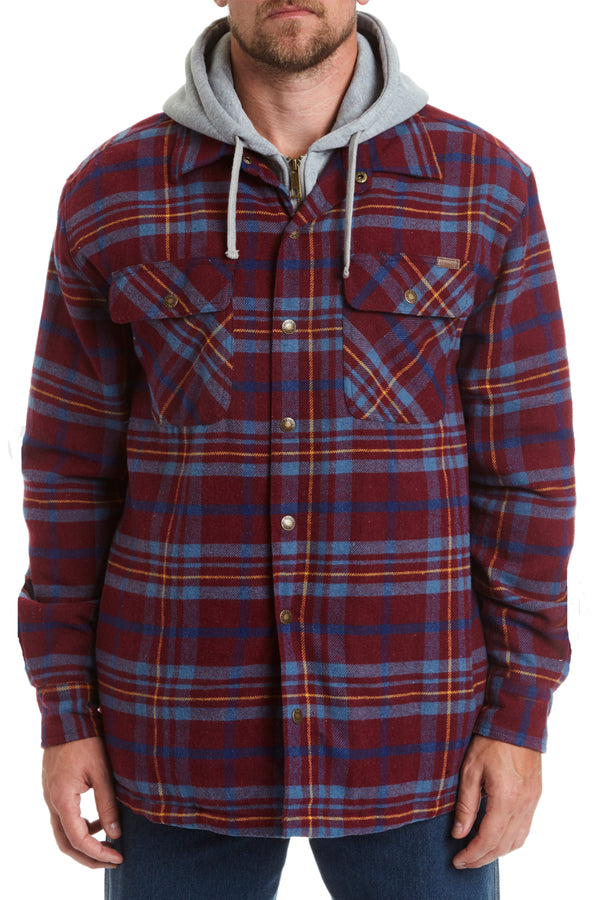 Hooded Flannel Shirt Jacket - port plaid