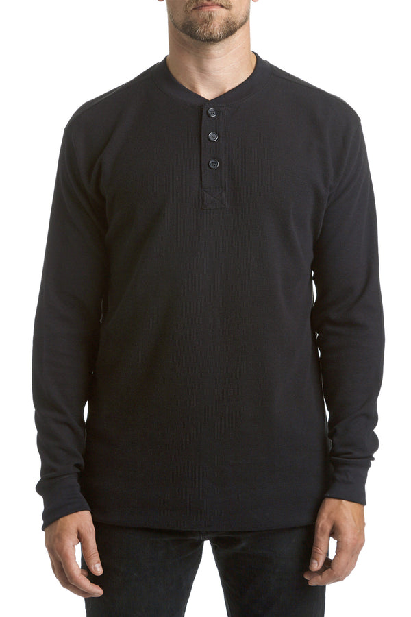 Long-sleeve Thermal Henley - black